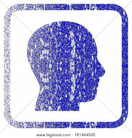 Head Profile textured icon for overlay watermark stamps. Blue vectorized texture. Flat vector symbol with dirty design inside rounded square frame. Framed blue rubber seal stamp imitation.