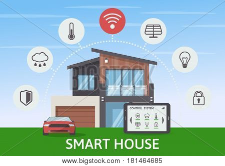 Modern Smart House with car infographic banner. Flat design style concept, technology system with centralized control. Vector illustration.