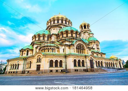St. Alexander Nevsky Cathedral in the center of Sofia, capital of Bulgaria against the blue morning sky