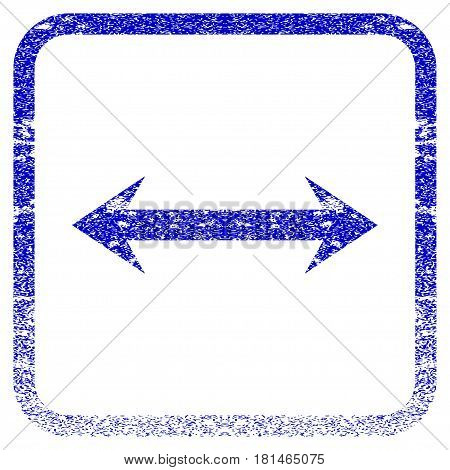Horizontal Flip textured icon for overlay watermark stamps. Blue vectorized texture. Flat vector symbol with scratched design inside rounded square frame. Framed blue rubber seal stamp imitation.