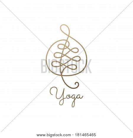 Abstract vector leaf. Wavy elegant icon on white background. Linear emblem for design of natural products, flower and music shop, cosmetics and ecology concepts, spa and yoga Center.