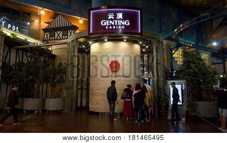 Genting Highlands, Malaysia - Mar 22: Genting Casino Entrance And Security Male At Resort World Gent