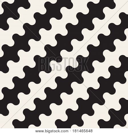Seamless wavy lines pattern. Repeating vector texture. Stylish stripes abstract background. Contemporary graphics with parallel waves.