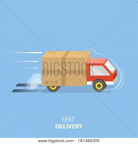 Fast delivery service flat vector illustration. A vehicle with parcel is rushing to the client.