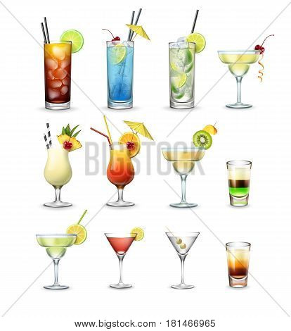 Vector set of popular cocktails and shots Cuba Libre, Blue Lagoon, Mojito, Margarita, Pina Colada, Tequila Sunrise, Cosmopolitan, Martini isolated on white background
