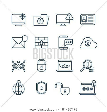 Cryptography, internet security and biometric protection outline vector icons. System network protection technology illustration