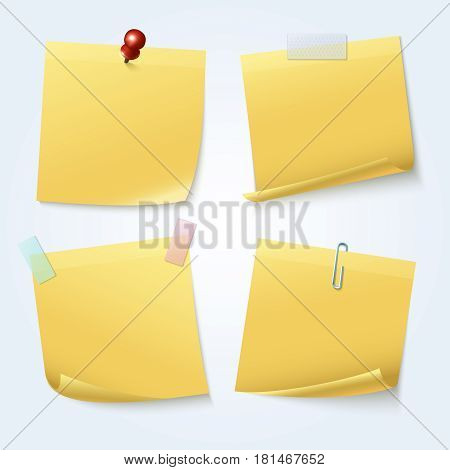 Sticky note pages, yellow papers vector set. Sticker for office reminder message illustration