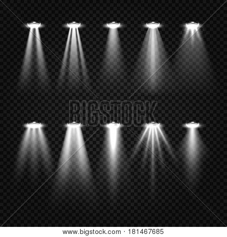 White beam lights, spotlights isolated on dark transparent background. Spotlight illuminated for show illumination illustration