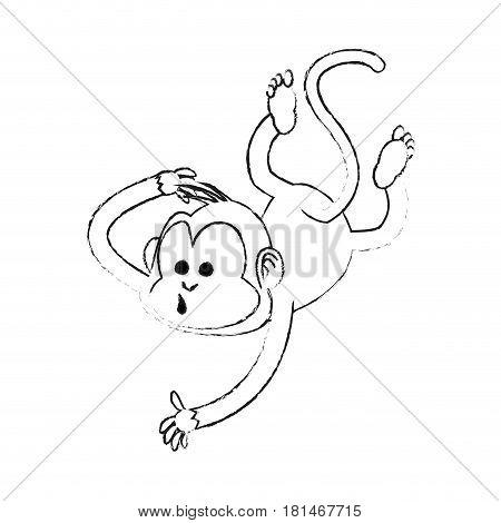 happy playful monkey cartoon icon image vector illustration design  black sketch line