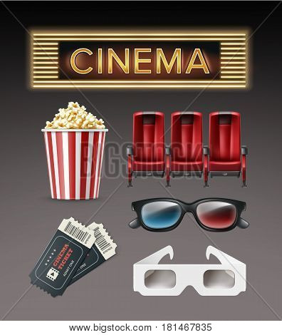Vector different movie theater stuff red armchairs, 3d glasses, tickets, bucket of popcorn, illuminated cinema signboard top, side view isolated on dark background