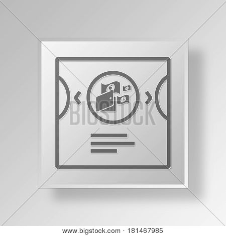 3D Symbol Gray Square Account Group icon Business Concept