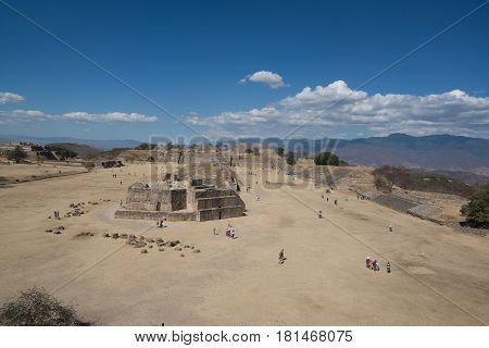 Oaxaca, Mexico, circa february 2017: Monte Alban is a large pre-Columbian archaeological site in Oaxaca, Mexico