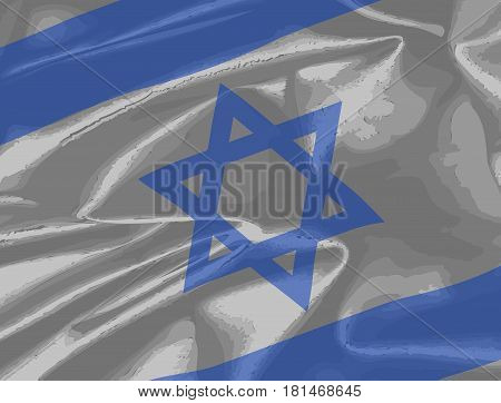 Closeup of the flag of Israel in blue and white with the star of David