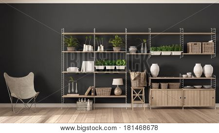 Eco gray interior design with wooden bookshelf diy vertical garden storage shelving living lounge relax area with armchair, 3d illustration