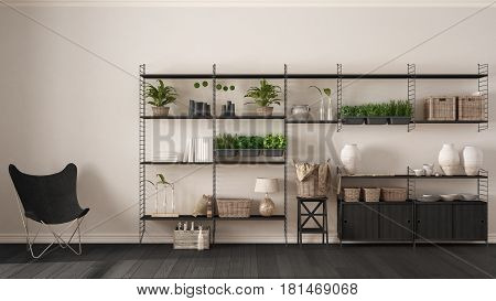 Eco white interior design with wooden bookshelf diy vertical garden storage shelving living lounge relax area with armchair, 3d illustration