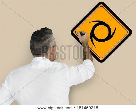 Studio Senior Man Shoot Saw blade Sign Attention Banner