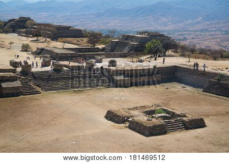Monte Alban is a large pre-Columbian archaeological site in Oaxaca, Mexico