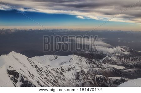 View in the mountains from Lenin Peak to mountainous Tajikistan.