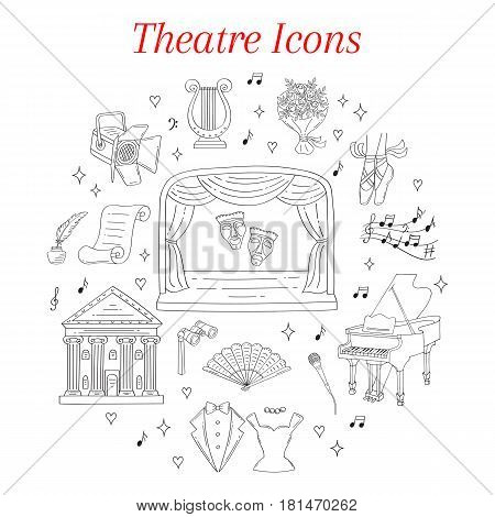 Vector set of theater icons with theatrical stage, comedy and tragedy masks, curtains, , lyre, grand piano, spotlight, tuxedo, evening dress, isolated on white background, hand drawn, doodle