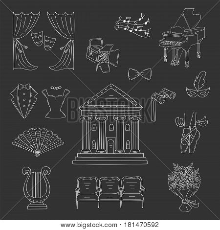 Vector set of theater icons with theater building, curtains, theatrical binoculars, lyre, ballet shoes, grand piano, seats, spotlight, isolated on black background, hand drawn, doodle
