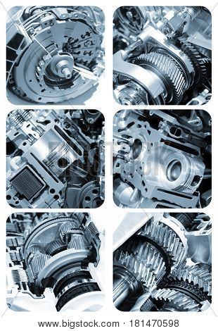 Automotive engine components sectional view collage