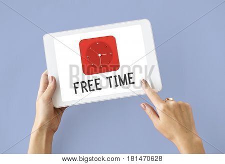 Free time red analog alarm clock icon