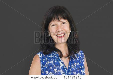 Senior Adult Woman Smiling Happiness Portrait Concept
