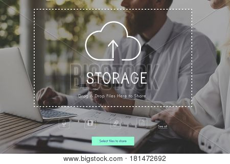 People Using Technology Digital Device with Cloud Computing Icon Graphic