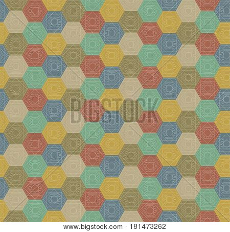 Seamless Colorful Hexagons Pattern