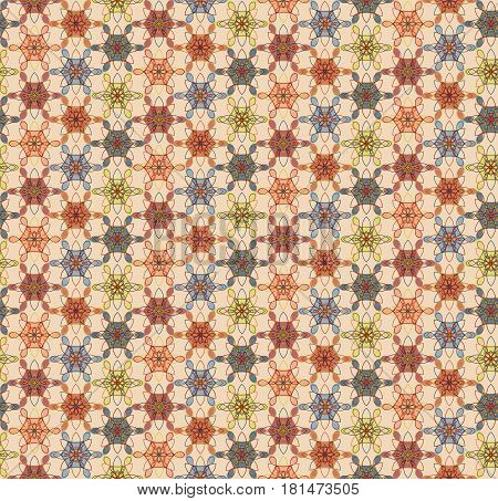Seamless geometric colorful grid pattern with flowers