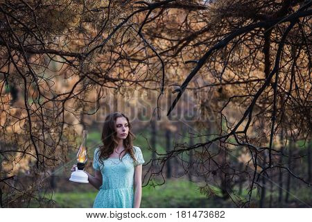 Very cute young girl with a kerosene lamp. Doll appearance. Woman with brown hair in a turquoise dress on nature. Long hair. Natural light. Model posing on the nature. Lamp in hand. Lost in forest