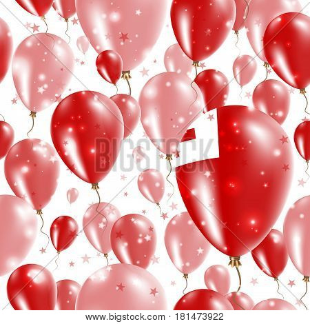 Tonga Independence Day Seamless Pattern. Flying Rubber Balloons In Colors Of The Tongan Flag. Happy