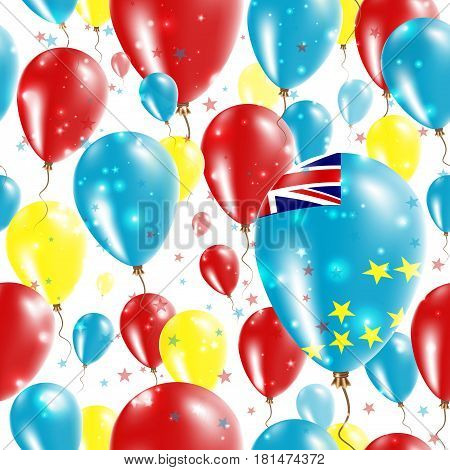 Tuvalu Independence Day Seamless Pattern. Flying Rubber Balloons In Colors Of The Tuvaluan Flag. Hap