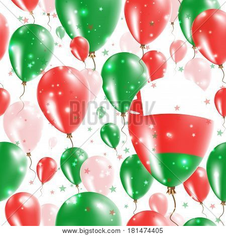 Oman Independence Day Seamless Pattern. Flying Rubber Balloons In Colors Of The Omani Flag. Happy Om
