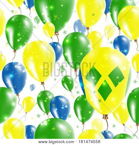 St. Vincent Independence Day Seamless Pattern. Flying Rubber Balloons In Colors Of The Saint Vincent