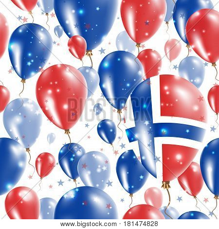 Svalbard Independence Day Seamless Pattern. Flying Rubber Balloons In Colors Of The Norwegian Flag.