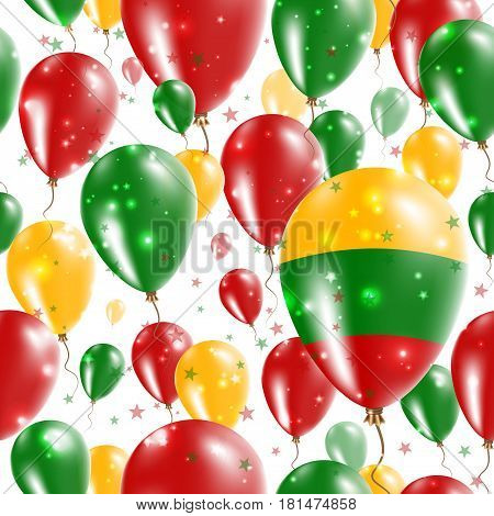 Lithuania Independence Day Seamless Pattern. Flying Rubber Balloons In Colors Of The Lithuanian Flag