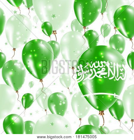 Saudi Arabia Independence Day Seamless Pattern. Flying Rubber Balloons In Colors Of The Saudi Arabia