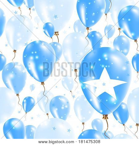Somalia Independence Day Seamless Pattern. Flying Rubber Balloons In Colors Of The Somali Flag. Happ
