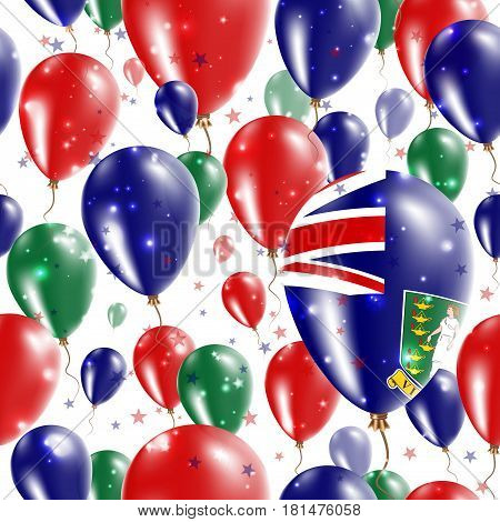 Virgin Islands (uk) Independence Day Seamless Pattern. Flying Rubber Balloons In Colors Of The Virgi