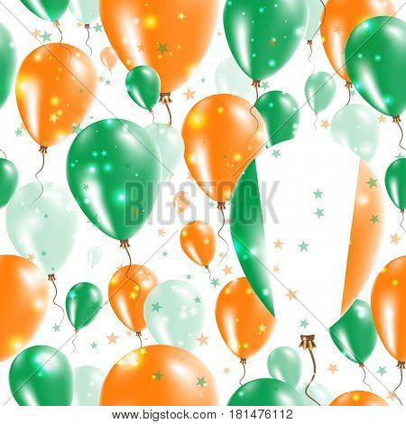 Ireland Independence Day Seamless Pattern. Flying Rubber Balloons In Colors Of The Irish Flag. Happy