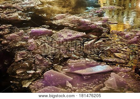 Crushed ice in the river at night