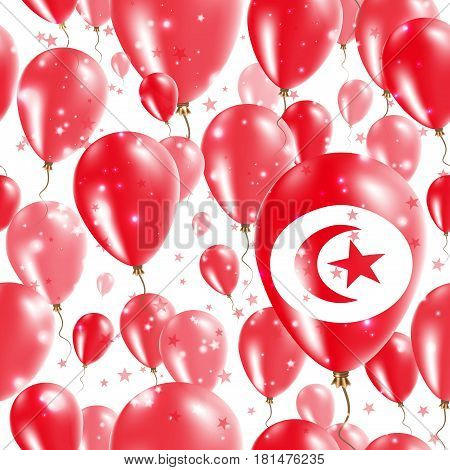 Tunisia Independence Day Seamless Pattern. Flying Rubber Balloons In Colors Of The Tunisian Flag. Ha
