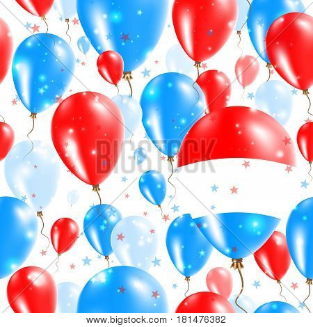 Luxembourg Independence Day Seamless Pattern. Flying Rubber Balloons In Colors Of The Luxembourger F