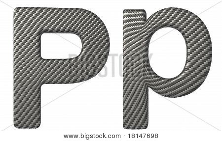 Carbon Fiber Font P Lowercase And Capital Letters