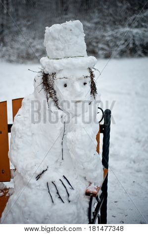 Alexander Pushkin famous poet is made from snow