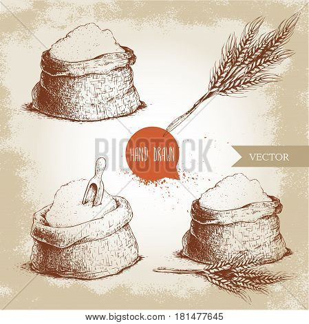 Hand drawn sketch style set of sacks with whole flour and wheat bunch. Bag with sugar flour sack with wooden scoop wheat sheaf. Bakery and mill symbol.