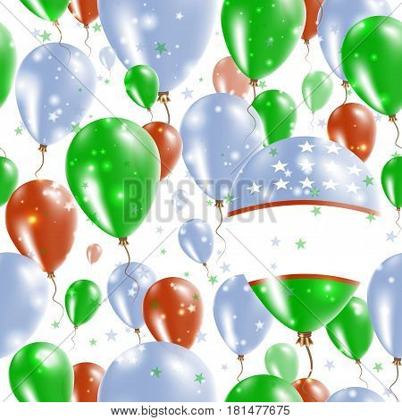 Uzbekistan Independence Day Seamless Pattern. Flying Rubber Balloons In Colors Of The Uzbekistani Fl