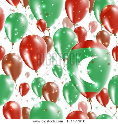 Maldives Independence Day Seamless Pattern. Flying Rubber Balloons In Colors Of The Maldivan Flag. H