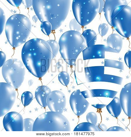 Greece Independence Day Seamless Pattern. Flying Rubber Balloons In Colors Of The Greek Flag. Happy